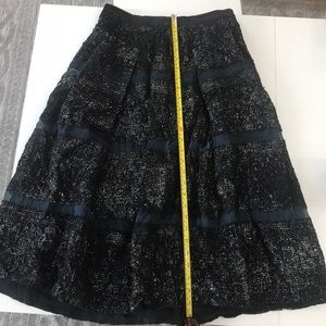 Rebecca Taylor Long Black Skirt w/ Silver Shimmers